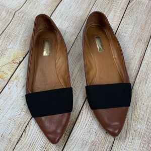 Halogen Brown Leather Flats